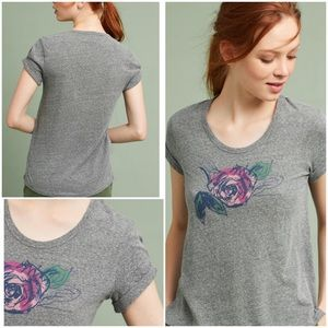 Anthropologie Giuliana Rolled-Cuff Graphic Tee NWT